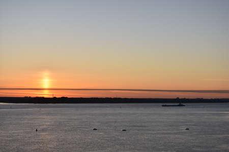bright beautiful dawn on the river volga Stock Photo