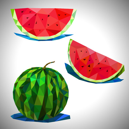 two pieces: Two pieces of watermelon and watermelon in a low poly
