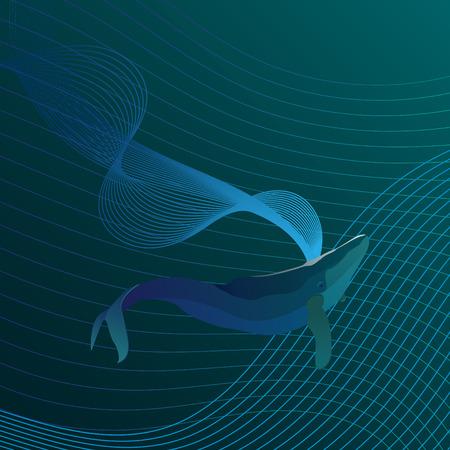 ballena azul: ballena azul en el mar lineal
