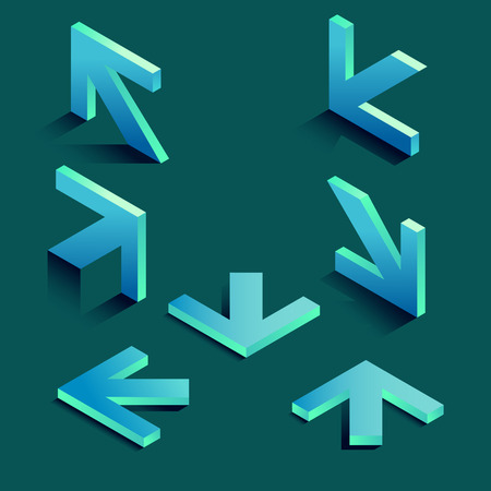 Isometric arrows with long shadows for your design. Illustration