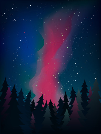 the milky way: Forest under the night sky with stars vector Milky Way. Illustration