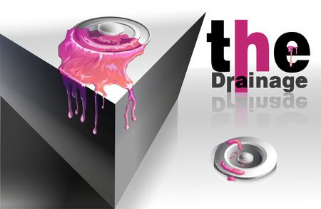 merging: Abstract and stylish element for design merging with pink liquid. supported by the effect of the inscription. Illustration