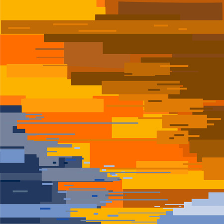 absract art: Orange blue texture painted with a brush straight vetor.