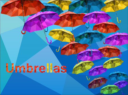 descendants: Descendants low poly colorful umbrellas and a variety of on blue sky low poly for your design fashionable.