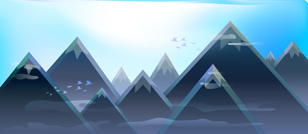 enveloping: Beautiful morning in the mountains letyaschii flocks of birds and a light mist enveloping the foot of the mountains. Illustration