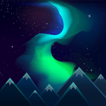aurora borealis: Spectacular aurora borealis blue and green over the mountains at night