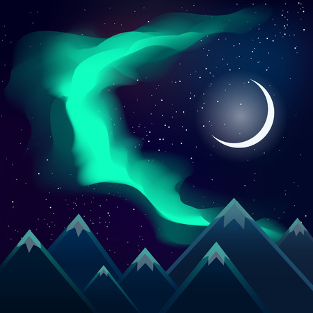 Green northern lights over mountains night and the moon
