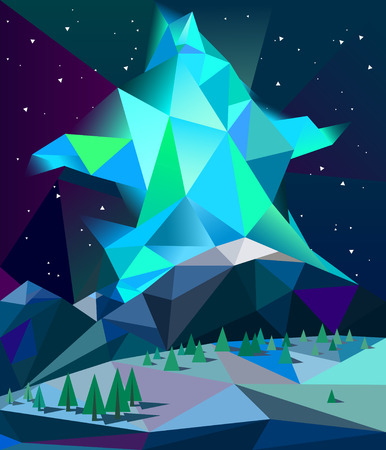 polar lights: Northern lights over mountains made in low poly style vector.