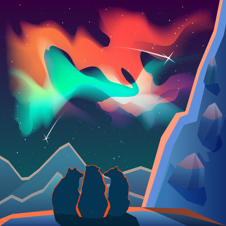 arctic landscape: Sitting bears look at the northern lights in the snowy mountains at night