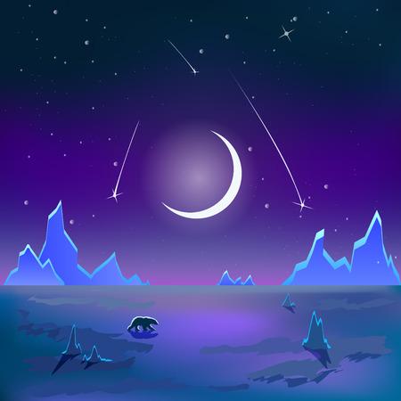тундра: Медведь на полярной тундры один под луной.