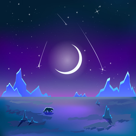 tundra: The bear is on the polar tundra one under the moon. Illustration