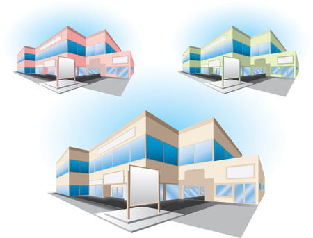 edificio banco: edificio de centro comercial  Vectores