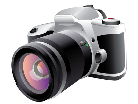 dslr camera: C�mara r�flex digital  Vectores