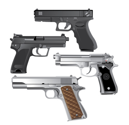 firearms: handgun, Pistol Illustration