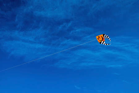 orange snake: kite flying in the blue sky against a background of clouds