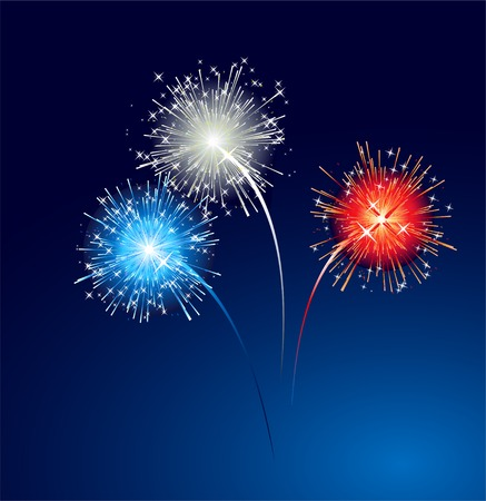 independence: illustration Abstract colorful firework   background.  Illustration