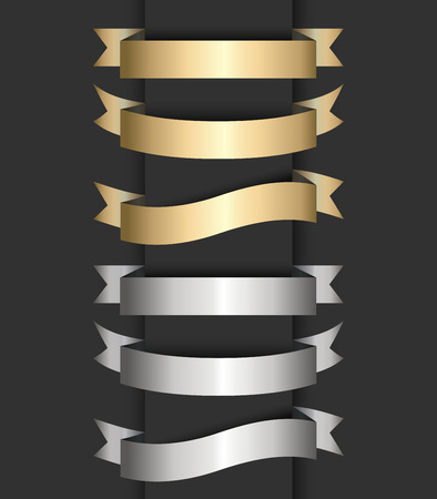 Set of gold and silver ribbon banners.