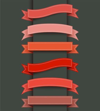 バナーの色のリボンのセットです。ベクトルの図。  イラスト・ベクター素材