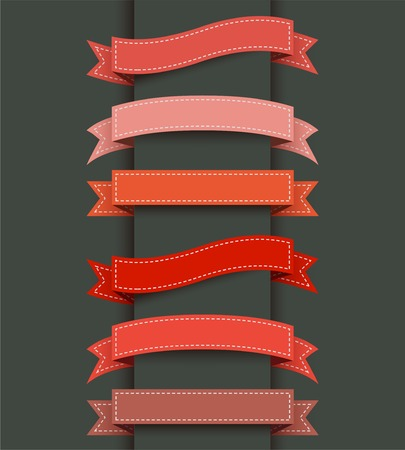 Set of colored ribbon banners. Vector illustration. Ilustração