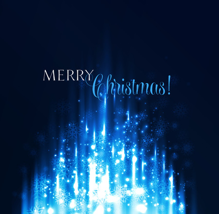 illustration Abstract Christmas background. Blue magic light