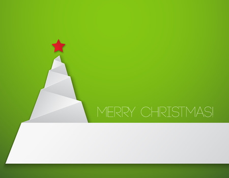 Simple christmas tree, paper new year card.