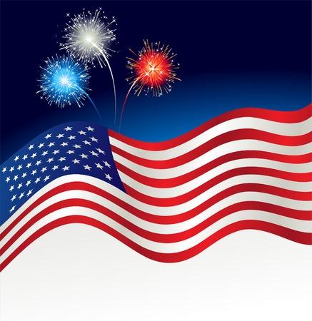 ベクトル イラスト愛国的な背景。アメリカの国旗と花火