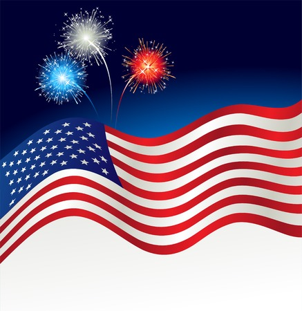 Vector illustration Patriotic background. USA flag and fireworks
