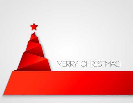 シンプルなクリスマス ツリー、紙年賀状。  イラスト・ベクター素材