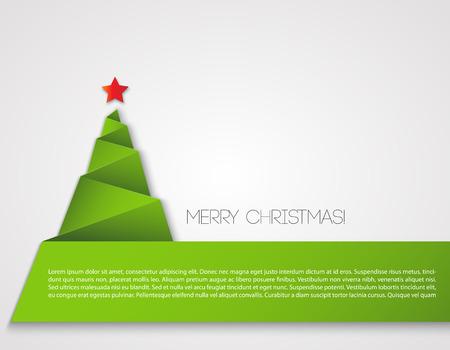 boom: Eenvoudige kerstboom, papier nieuwe jaarkaart.