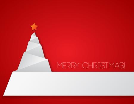 navidad: Árbol de navidad simple, papel tarjeta de año nuevo.
