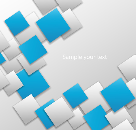 white  background: Abstract background square card white and blue. 3d Illustration