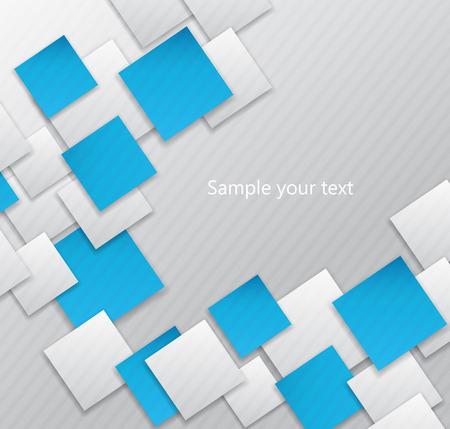 square abstract: Abstract background square card white and blue. 3d Illustration