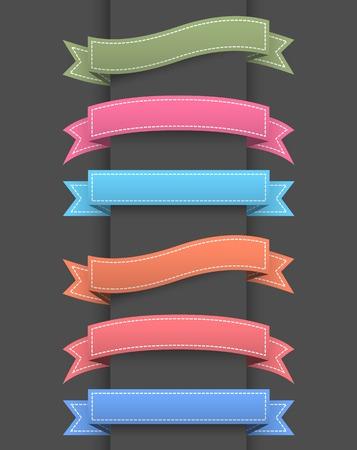 marcos decorativos: Conjunto de banners de cinta de colores.