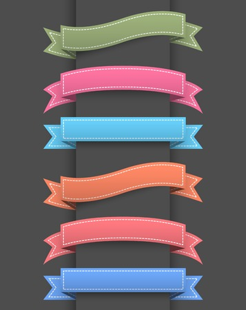 vintage badge: Set of colored ribbon banners.