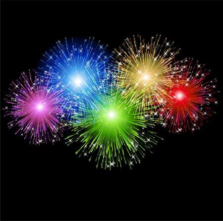 skyrocket: illustration Abstract colorful firework holiday  background Illustration