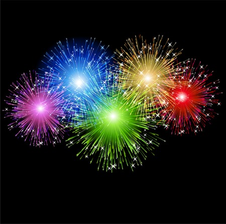 fuegos artificiales: Ilustración abstracta de colores de fuegos artificiales de fondo de vacaciones Vectores