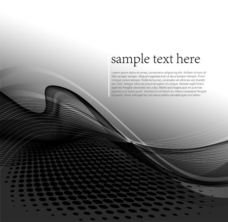 illustration Abstract background with curved lines and halftone