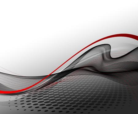 illustratie Abstracte achtergrond met gebogen lijnen en halftone