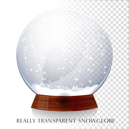 bright light: Christmas transparent snowglobe. Vector illustration EPS 10