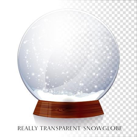 Christmas transparent snowglobe. Vector illustration EPS 10