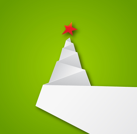 Simple vector christmas tree, paper new year card.