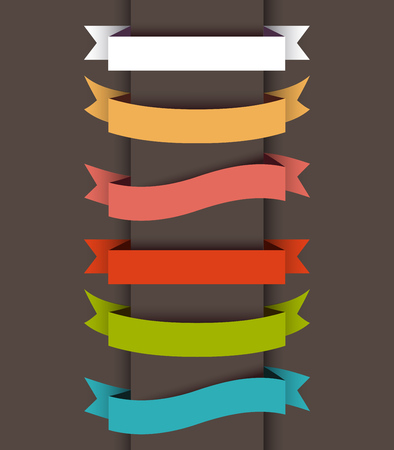 バナーの色のリボンのセットです。  イラスト・ベクター素材