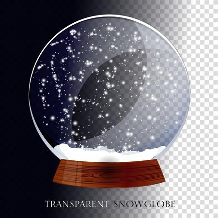 snow white: Christmas transparent snow globe.