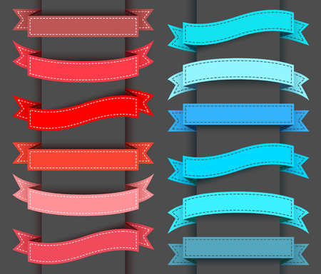 Set of colored ribbon banners. illustration.