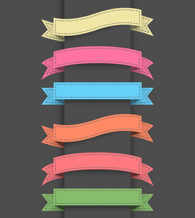 green banner: Set of colored ribbon banners. illustration.