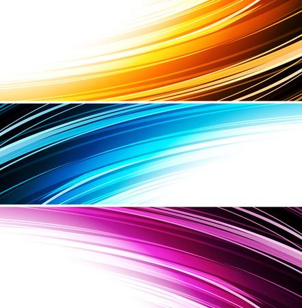 Collection bannières de conception d'onde moderne, fond coloré. illustration vectorielle. Bleu, orange et violet Banque d'images - 54361659