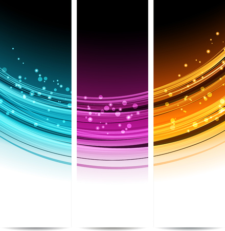 Collection bannières de conception d'onde moderne, fond coloré. illustration vectorielle. Bleu, orange et violet Banque d'images - 54361655