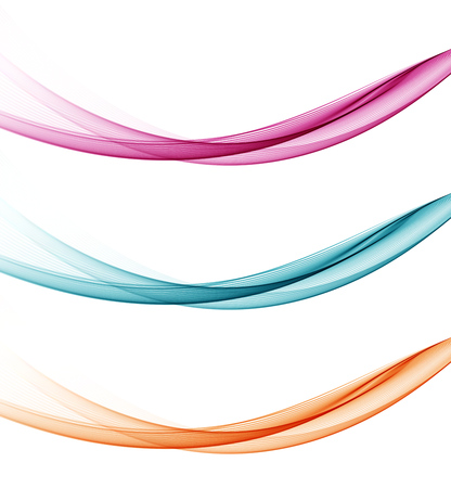 Set vague vecteur abstrait, bleu, orange et rose agitaient des lignes pour la brochure de conception, site web, dépliant Banque d'images - 54361674