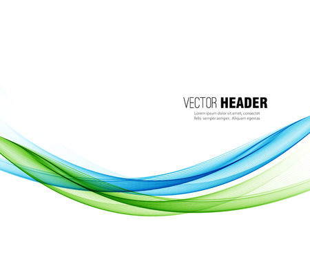 Abstract vector wave background, blue and green  waved lines for design brochure, website Vettoriali