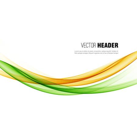 抽象的なベクトル波背景、緑、オレンジ ラインのパンフレットのデザイン、手を振ってウェブサイト